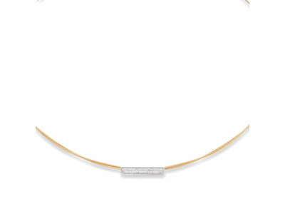 Yellow cable and rose cable, 18 karat White Gold, 0.22     total carat weight Diamonds with stainless steel. Imported. - 08-39-S131-11