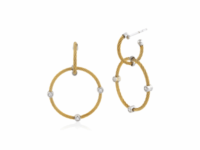 Yellow cable, 18kt. White Gold, 0.16    total carat weight. Diamonds w/stainless steel. Imported. - 03-37-S632-11