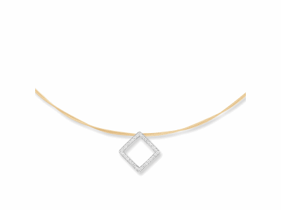 Yellow cable, 18 karat White Gold, 0.27     total carat weight Diamonds with stainless steel. Imported. - 08-37-S734-11