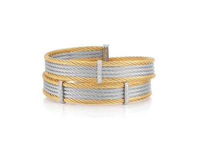 Yellow cable and grey cable, 18 karat White Gold, 0.12     total carat weight Diamonds with stainless steel. Imported. - 04-43-S453-11