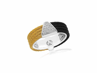 Black cable and Yellow cable, 18kt. White Gold, 0.07     total carat weight. Diamonds w/stainless steel. Imported. - 02-58-0618-11