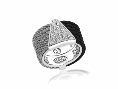 Black cable and Grey cable, 18kt. White Gold, 0.20    total carat weight. Diamonds w/stainless steel. Imported. - 02-54-0628-11