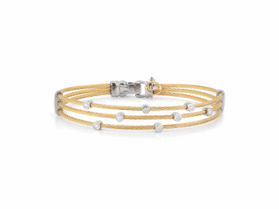 Yellow cable, 18 karat White Gold, 0.18     total carat weight Diamonds with stainless steel. Imported. - 04-37-S386-11