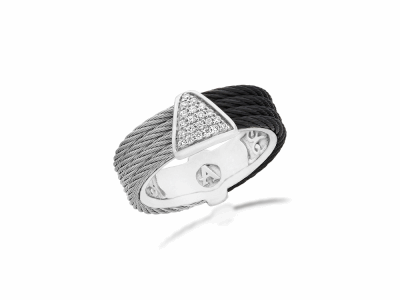 Black cable and Grey cable, 18kt. White Gold, 0.07    total carat weight. Diamonds w/stainless steel. Imported. - 02-54-0618-11