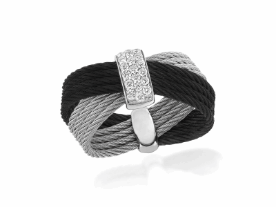 Black cable and Grey cable, 18kt. White Gold, 0.16    total carat weight. Diamonds w/stainless steel. Imported. - 02-54-0551-11