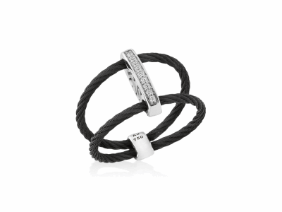 Black cable, 18kt. White Gold, 0.05    total carat weight. Diamonds w/stainless steel. Imported. - 02-52-0720-11