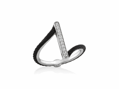 Black cable, 18kt. White Gold, 0.09    total carat weight. Diamonds w/stainless steel. Imported. - 02-52-0711-11