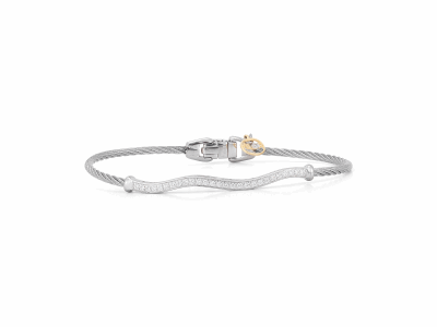 Grey cable, 18 karat White Gold, 0.36     total carat weight Diamonds and stainless steel. Imported. - 04-32-S915-11