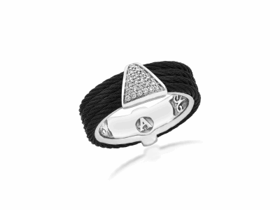 Black cable, 18kt. White Gold, 0.11    total carat weight. Diamonds w/stainless steel. Imported. - 02-52-0618-11
