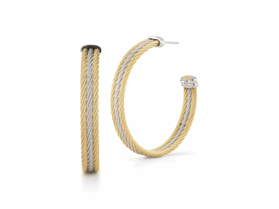 Grey cable and yellow cable, 18 karat White Gold and Yellow Gold, stainless steel. Imported. - 03-34-S313-00