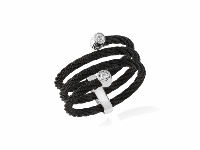Black cable, 18kt. White Gold, 0.04    total carat weight. Diamonds w/stainless steel. Imported. - 02-52-0601-11