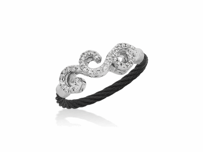 Black cable, 18kt. White Gold, 0.15    total carat weight. Diamonds w/stainless steel. Imported. - 02-52-0061-11