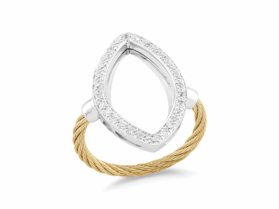 Yellow cable, 18 karat White Gold, 0.23     total carat weight Diamonds with stainless steel. Imported. - 02-37-S738-11