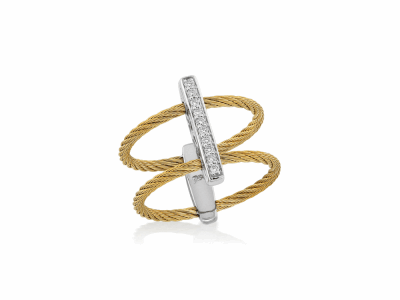 Yellow cable, 18kt. White Gold, 0.08    total carat weight. Diamonds w/stainless steel. Imported. - 02-37-S721-11