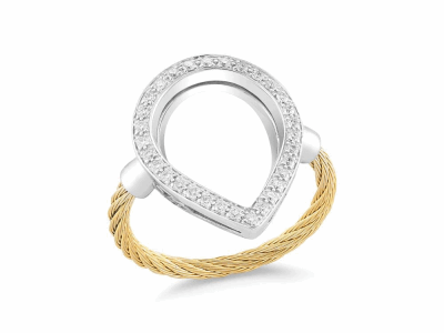 Yellow cable, 18 karat White Gold, 0.26     total carat weight Diamonds with stainless steel. Imported. - 02-37-S736-11