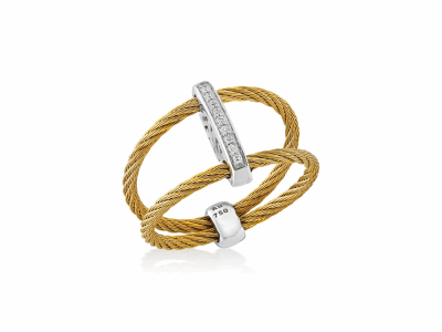 Yellow cable, 18kt. White Gold, 0.05    total carat weight. Diamonds w/stainless steel. Imported. - 02-37-S720-11