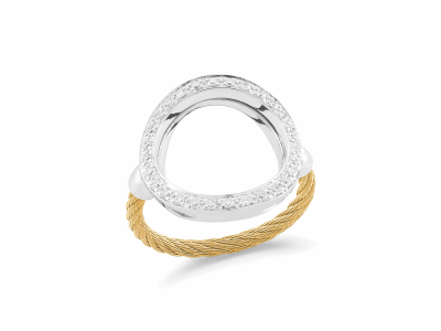 Yellow cable, 18 karat White Gold, 0.23     total carat weight Diamonds with stainless steel. Imported. - 02-37-S732-11