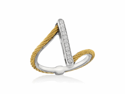 Yellow cable, 18kt. White Gold, 0.09    total carat weight. Diamonds w/stainless steel. Imported. - 02-37-S711-11