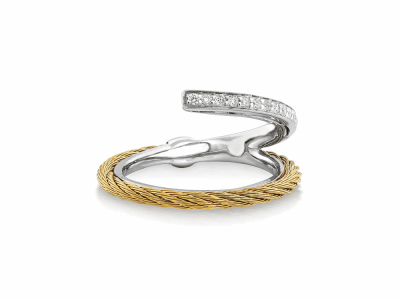 Yellow cable, 18kt. White Gold, 0.12    total carat weight. Diamonds w/stainless steel. Imported. - 02-37-S710-11