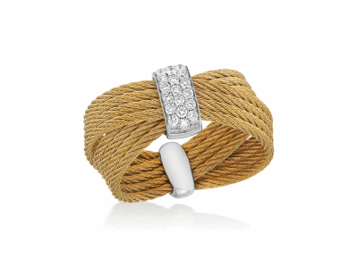 Yellow cable, 18kt. White Gold, 0.16    total carat weight. Diamonds w/stainless steel. Imported. - 02-37-S551-11