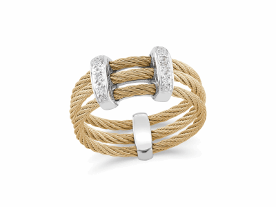 Yellow cable, 18 karat White Gold, 0.05     total carat weight Diamonds with stainless steel. Imported. - 02-37-S321-11