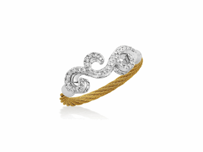 Yellow cable, 18kt. White Gold, 0.15    total carat weight. Diamonds w/stainless steel. Imported. - 02-37-S061-11