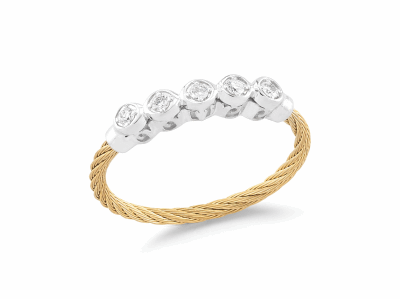 Yellow cable, 18 karat White Gold, 0.11     total carat weight Diamonds with stainless steel. Imported. - 02-37-S142-11