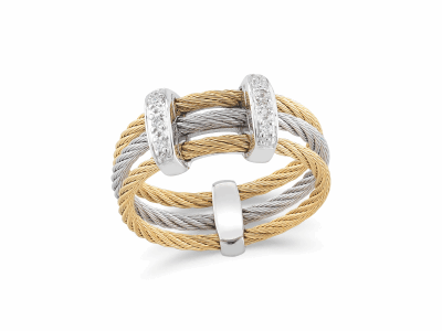Yellow cable and grey cable, 18 karat White Gold, 0.05     total carat weight Diamonds with stainless steel. Imported. - 02-34-S321-11