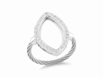Grey cable, 18 karat White Gold, 0.23     total carat weight Diamonds and stainless steel. Imported. - 02-32-S738-11