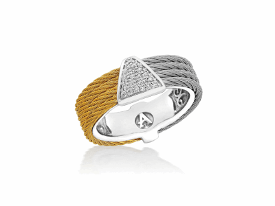 Yellow cable and Grey cable, 18kt. White Gold, 0.07tcw. Diamonds w/stainless steel. Imported. - 02-34-S618-11