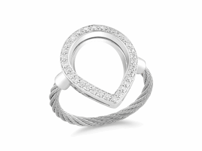 Grey cable, 18 karat White Gold, 0.26     total carat weight Diamonds and stainless steel. Imported. - 02-32-S736-11