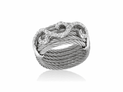 Grey cable, 18kt. White Gold, 0.32tcw. Diamonds and stainless steel. Imported. - 02-32-S961-11