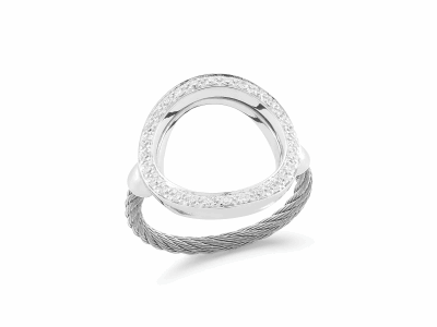 Grey cable, 18 karat White Gold, 0.23     total carat weight Diamonds and stainless steel. Imported. - 02-32-S732-11