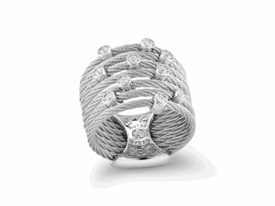Grey cable, 18 karat White Gold, 0.22     total carat weight Diamonds and stainless steel. Imported. - 02-32-S722-11