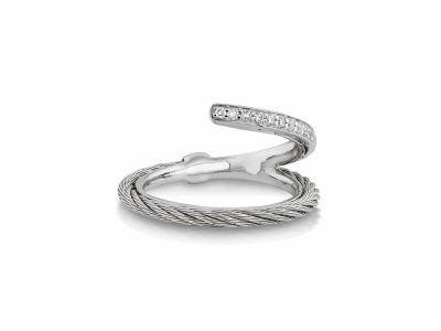 Grey cable, 18kt. White Gold, 0.12tcw. Diamonds and stainless steel. Imported. - 02-32-S710-11