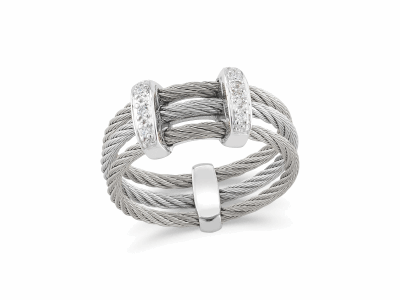 Grey cable, 18 karat White Gold, 0.05     total carat weight Diamonds and stainless steel. Imported. - 02-32-S321-11