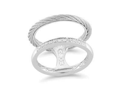 Grey cable, 18 karat White Gold, 0.09     total carat weight Diamonds and stainless steel. Imported. - 02-32-S272-11