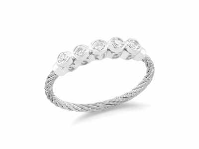 Grey cable, 18 karat White Gold, 0.11     total carat weight Diamonds and stainless steel. Imported. - 02-32-S142-11