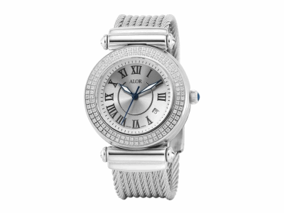 34mm Stainless Steel with Stainless Steel 0.60     total carat weight diamond bezel (120 stones), sapphire crystal and silver Roman marker dial on a grey stainless steel cable cable bracelet. Water resistant to 3ATM. - CAL-82-1-32-0150