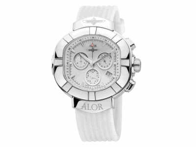 45mm Stainless Steel Swiss made, with White Chronograph dial, curved sapphire crystal and screw down crown on a White Rubber Strap. Water resistant to 5ATM. - SUB-80-4-15-9001
