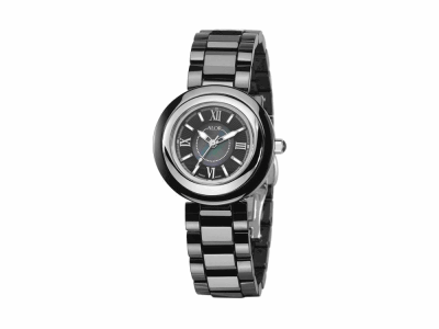 32mm Stainless Steel with Black Ceramic/Stainless Steel bezel, Cabochon Crown, double curved sapphire crystal and black MOP dial with silver Roman markers, on a black ceramic bracelet. Water resistant to 3ATM. - CRB-90-0-45-1002