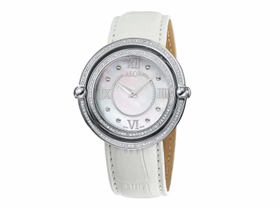 43mm Stainless Steel Swiss made with Stainless Steel bezel, double curved sapphire crystal and MOP dial with silver Roman markers, 0.92     total carat weight Diamonds (184 stones) on a white genuine leather strap. Water resistant to 3ATM. - DBS-82-3-98-2001