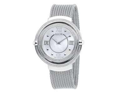 43mm Stainless Steel Swiss made with Stainless Steel bezel, double curved sapphire crystal and MOP dial with silver Roman markers, 0.92     total carat weight Diamonds (184 stones) on a grey (2 row 2.5mm and 8 row 2.0mm) stainless steel cable bracelet. Water resistant to 3ATM. - DBS-82-3-32-2001