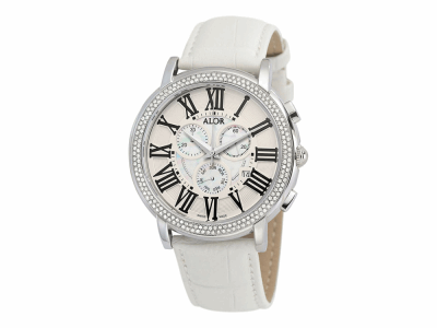 45mm Stainless Steel Swiss made with Stainless Steel bezel, sapphire crystal and MOP/white chronograph dial with black Roman markers 1.04     total carat weight Diamonds (130 stones) on a white genuine leather strap. Water resistant to 3ATM. - CRN-82-3-98-5050