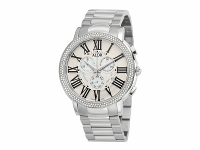 45mm Stainless Steel Swiss made with Stainless Steel bezel, sapphire crystal and MOP/white chronograph dial with black Roman markers 1.04     total carat weight Diamonds (130 stones) on a Stainless Steel cascade bracelet. Water resistant to 3ATM. - CRN-82-3-60-5050