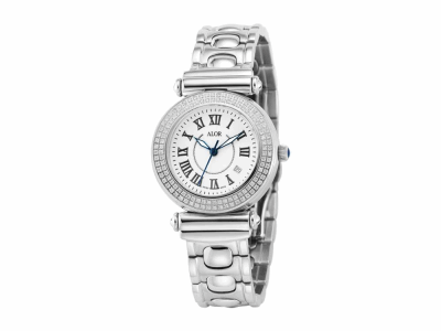 34mm Stainless Steel with Stainless Steel 0.60     total carat weight diamond bezel (120 stones), sapphire crystal and White dial with silver Roman marker dial on a stainless steel cascade bracelet. Water resistant to 3ATM. - CAL-82-1-60-0100