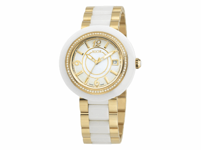 43mm Stainless Steel Swiss made with White Ceramic/Yellow PVD bezel, Cabochon Crown, double curved sapphire crystal and white dial with yellow Arabic markers 0.73     total carat weight Diamonds (73 stones) on a white/yellow ceramic bracelet. Water resistant to 3ATM. - CWY-71-2-43-0014