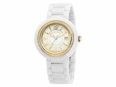 43mm Stainless Steel Swiss made with White Ceramic/Yellow PVD bezel, Cabochon Crown, double curved sapphire crystal and white dial with yellow Arabic markers 0.73     total carat weight Diamonds (73 stones) on a white ceramic bracelet. Water resistant to 3ATM. - CWY-71-2-40-0014