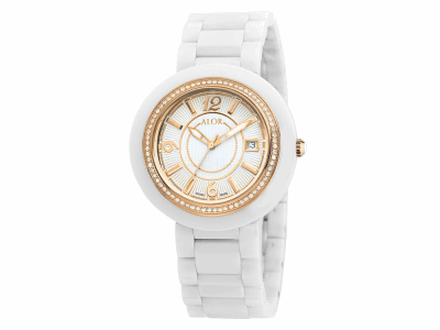 43mm Stainless Steel Swiss made with White Ceramic/Rose PVD bezel, Cabochon Crown, double curved sapphire crystal and white dial with rose Arabic markers, 0.73     total carat weight Diamonds (73 stones) on a white ceramic bracelet. Water resistant to 3ATM. - CWR-91-2-40-0013
