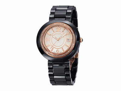 43mm Stainless Steel Swiss made with Black Ceramic/Rose PVD bezel, Cabochon Crown, double curved sapphire crystal and white dial with rose Arabic markers, 0.73     total carat weight diamonds (73 stones) on a black ceramic bracelet. Water resistant to 3ATM. - CBR-91-2-45-0013